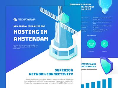 Hosting in Amsterdam Infographic isometric illustration windmill shiels bulb server amsterdam hosting