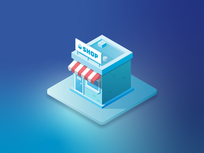 Little Shop building shop isometric blue illustration