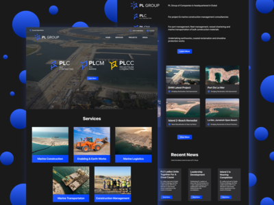 Construction Company Web Redesign - Dark UI