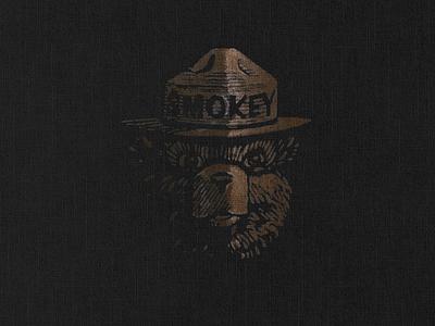 Smokey Bear mascot smokey linen texture smokeybear vector minimal logo icon design branding