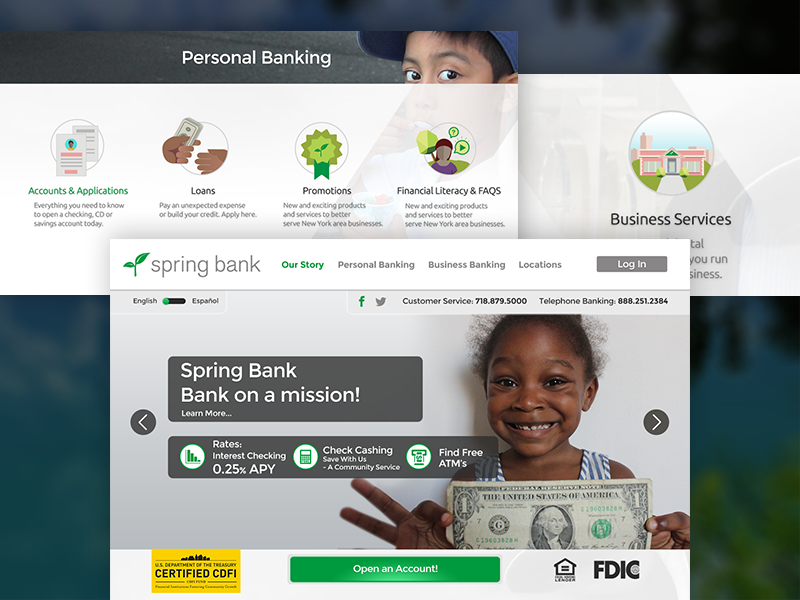 Spring Bank NY website  web contemporary infographics design graphic advertising illustration ux ui