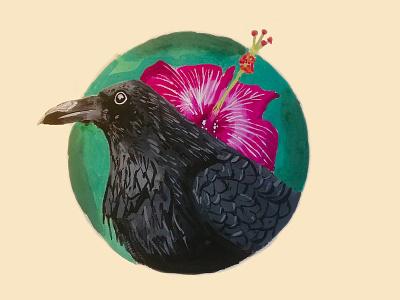 Corvus and Detail tempera gouache gouachepainting darkart uixu illustration