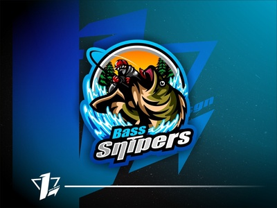 Bass Snipers logo sport flat design designer ux vector brand esports logo design simple