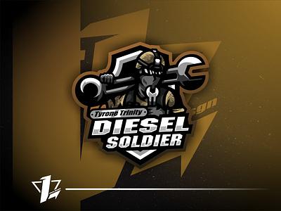 Diesel Soldier Tyrone Trinity logo sport flat design designer branding brand vector ui logo simple esports design