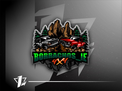 Borrachos_Ie 4x4 brand simple mascot illustration design esports logo sport flat design designer branding