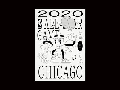 021720 layout poster allstar nba basketball illistration branding chicago typography