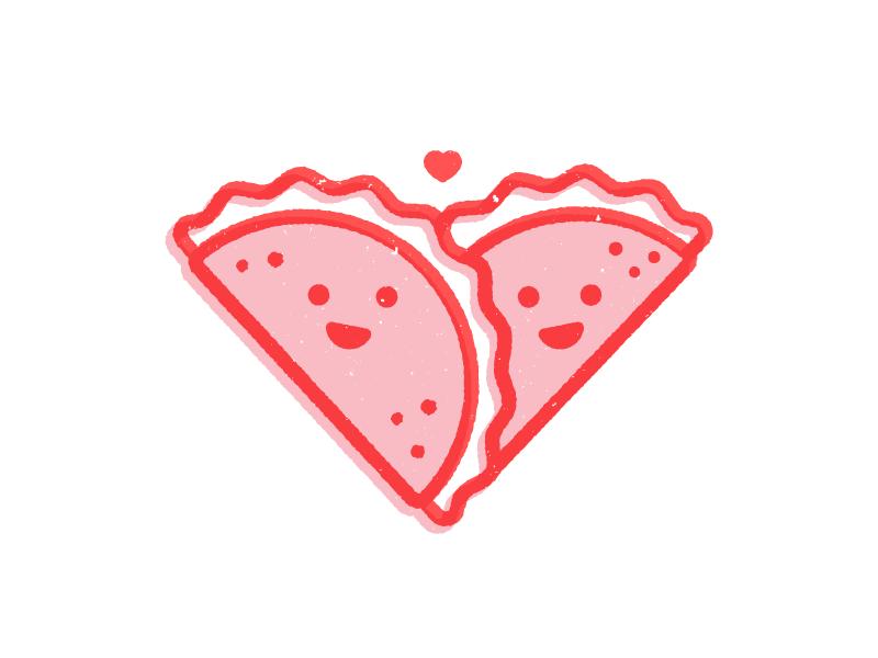 Taco Love tacos love heart happy face valentines day cute illustration