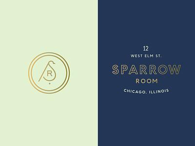 Sparrow Room mint gold art deco illinois chicago bar logo mark sparrow branding