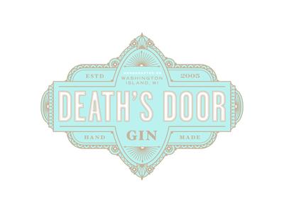 Death's Doorstep gold foil packaging ornaments gin label vintage