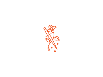 Quiet Romance hate love iris dagger logo mark knife flower