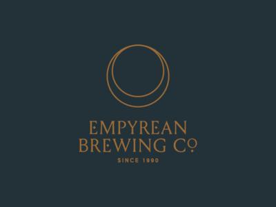 Empyrean Brewing Company logo branding beer universe moon heavenly glass halo company brewing empyrean
