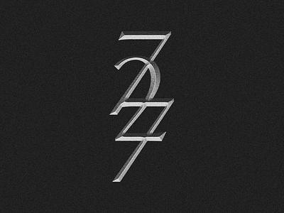 727 numbers logo bevel monogram