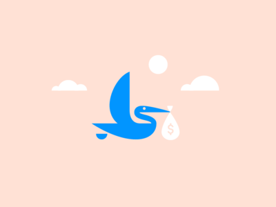 091019 animal crane illustration branding logo baby money bird stork