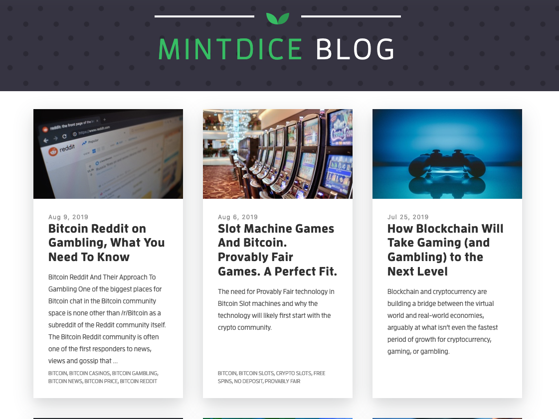Bitcoin News Today & Gambling News MintDice Blog by Mint