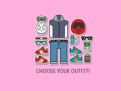 Fashion Outfit Object gameboy helmet respirator jacket jeans sunglasses shoes man t-shirt outfits elements objects characterdesign vectorart fantasyart illustration