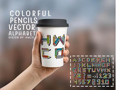Pencils Colorful Alphabet Vector in Mug colorful pencils decoration vector design fantasyart illustration vectorart typography typedesign mug design