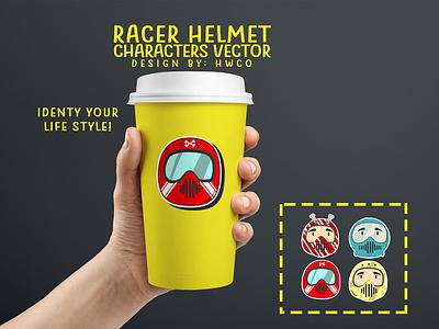 Racer Helmet Characters colorful helmets mug design motorcycle helmet logodesign vectorart fantasyart characterdesign illustration