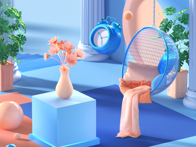 Chillin space clock free c4d render redshift relax chill illustration design cinema4d 3d