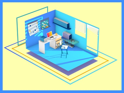 Workspace motion design render room model artwork 3d mograph motion effect workspace cinema4d c4d