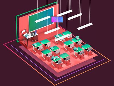 Classroom 3d render cel light colour classroom room class flat model cinema4d c4d
