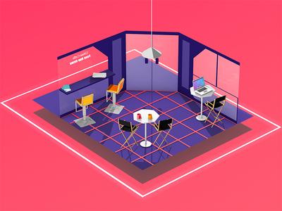 The Coffee Shop house illustration 3d cel render light colour coffee flat model cinema4d c4d