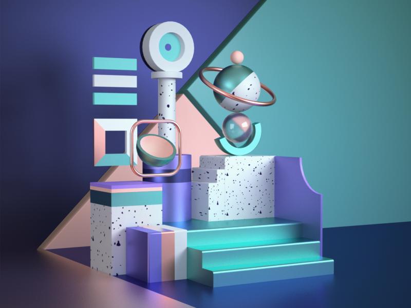 Shapes/Abstract memphis colors design geometric illustration 3d octane render c4d cinema4d abstract shape