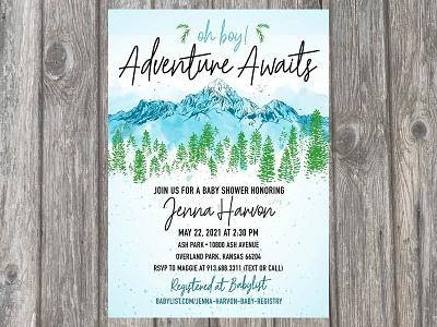 """Little Adventurer"" Baby Shower Invitation Design invitation graphicdesign adventure typography baby shower invitation design color design"