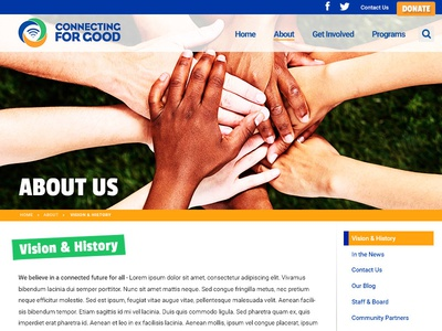 Non-profit Sidebar Layout Mockup