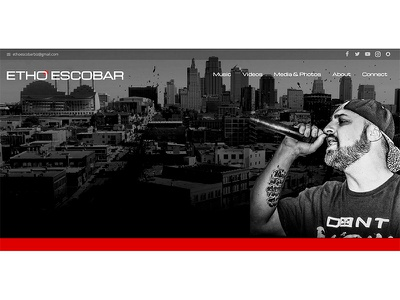 Etho Escobar Website parallax band music artist wordpress web development web design website