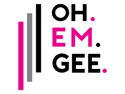 Oh Em Gee. OMG! oh my god type phrase words message pink typography omg