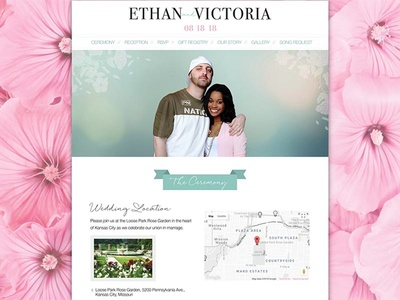 Wedding Website Design & Development decorative teal flowers pink typography homepage website event wedding wordpress