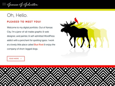 JessicaJJohnston.com Homepage wordpress design designer designer website intro screen moose homepage design portfolio design portfolio