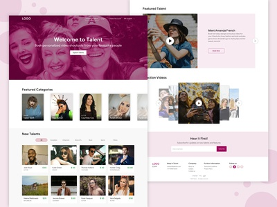 Landing Page for booking video from celebs