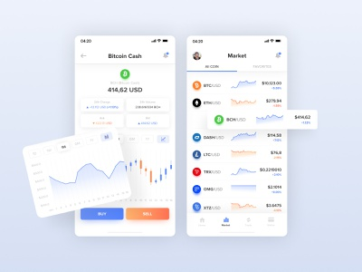 Cryptocurrency Market - Mobile App ux cryptocurrency app cryptocurrency iphone app design clean mobiledesign market application crypto appdesign app mobile interface design uiux ui