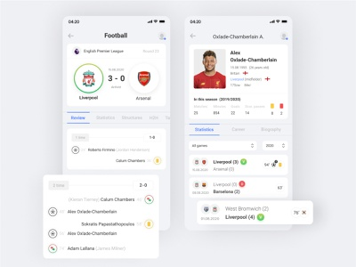 Mobile app with sports statistics football sport zeroui mobiledesign mobileui mobileapp mobile design uiux ui interface