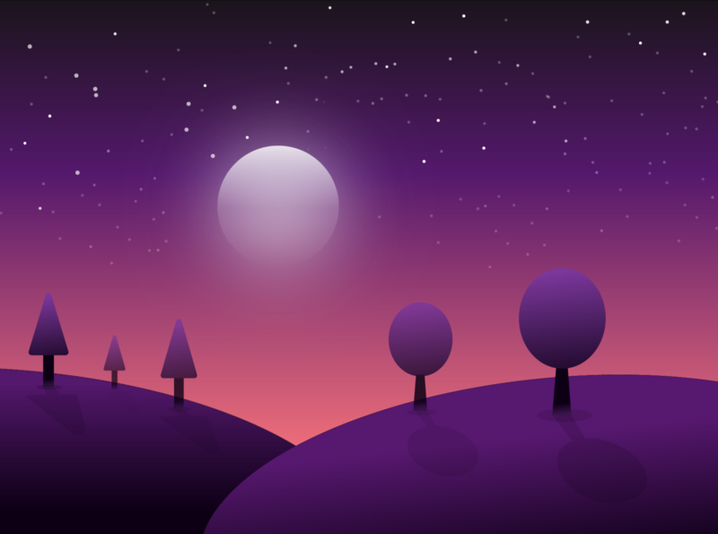 Pinemoon illustration moon landscape