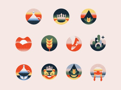 Wizard of OZ themed icons icons south africa logo cape town. texture gradient editorial illustration communication color illustration