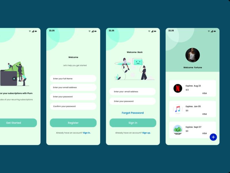 Plum io subscription wallet app ui mobile app design app