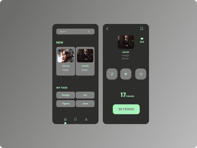 Design Friends finder product page mobile app design app