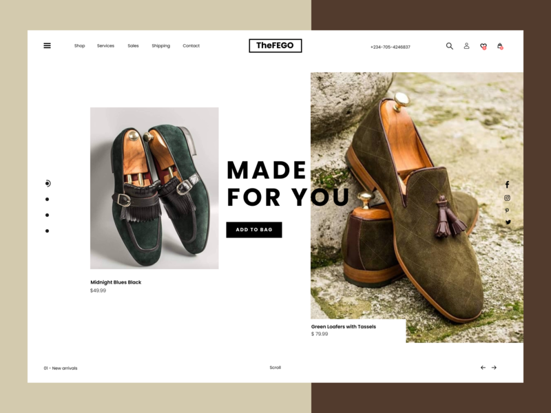 TheFEGO ui ux beauty branding figma product page website design website shoes