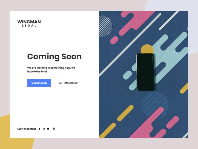 Wingman legal branding ui ux figma startup website design legaltech website coming soon