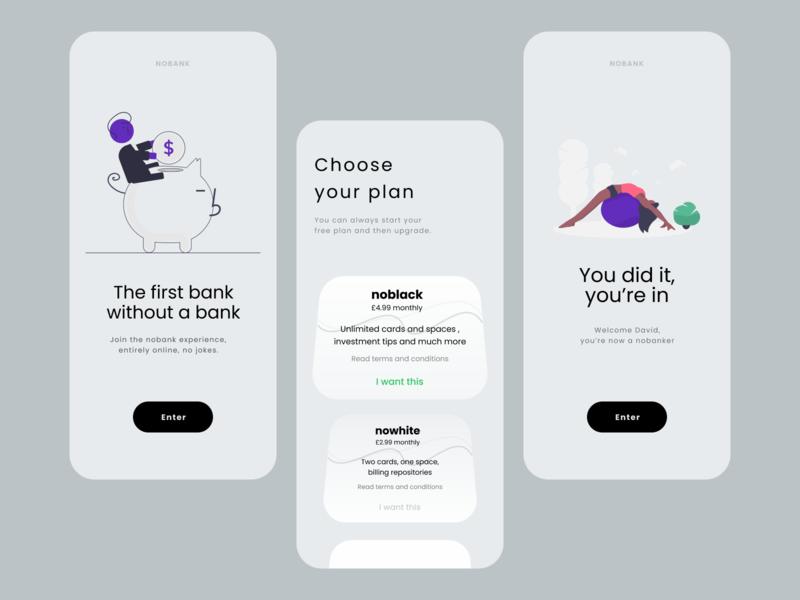 NOBANK typography ui app mobile app design illustration website ux figma website design product page