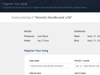 Artist Registering a Song - Beat Contract Tracker
