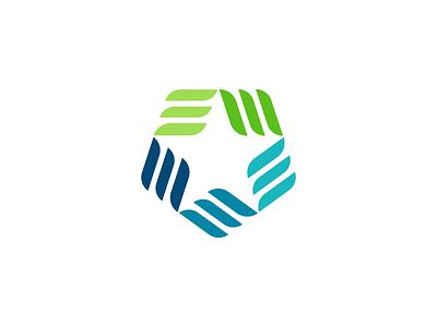 Star Logo healthcare negative space logo blue green e star