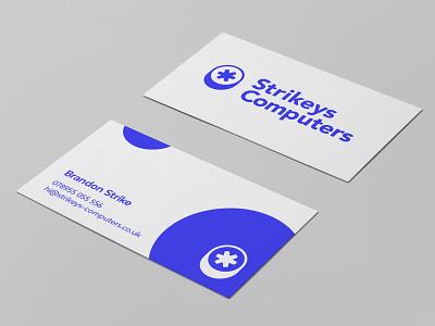 Strikeys Computers tech branding tech logo business card logo design design logo typography branding