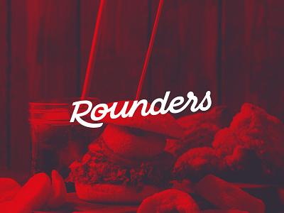 Rounders A New Fried Chicken Restaurant fast food logotype script lettering script logo lettering logo font design branding typography