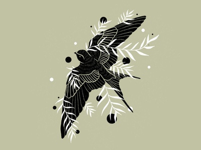 Botanical Swallow Illustration