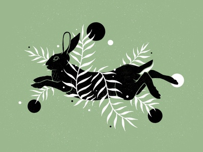 Botanical Hare Illustration