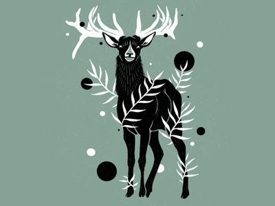 Botanical Deer Illustration