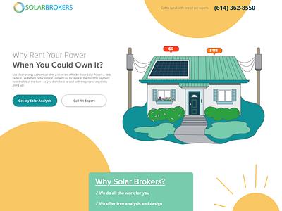 Solar Panel Website Design - One Page adobe xd website concept website design website turquoise green yellow power digital illustration sun house solar panel solar